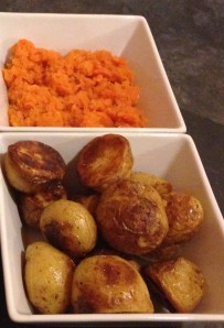 Cumin carrots and roasted baby potatoes
