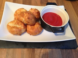 Cheese Balls with tomato sauce