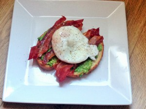 Bacon, Egg and Avocado on toast.