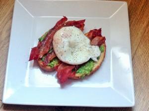 Bacon, Egg and Avocado on toast.