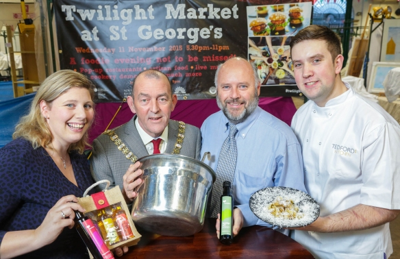 Jane Harnett, from Waringstown-based Harnett's Oils, joins the Lord Mayor of Belfast, Councillor Arder Carson, Steven Millar, Head of Agri-Food Support Services with the Department of Agriculture and Rural Development, and Mark Devlin, head chef with Tedford's Restaurant.