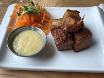 Pork belly with pickled carrot and apple sauce