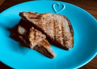 Simple veggie toastie - cheese, red pepper and fresh basil